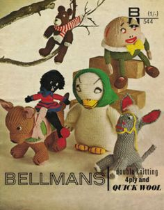 Knitting Pattern TOY duck donkey golly dog humpty teddy