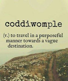 coddiwomple (v.) to travel in a purposeful manner towards a vague destination.