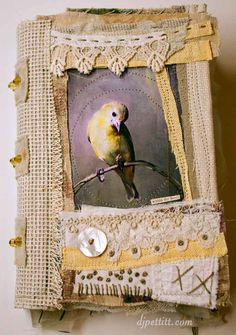 Journal includes 3 signatures, hand stitching, vintage laces, free motion sewing on the pages, and my sweet little goldfinch photo on the front cover. Handmade Journals, Handmade Books, Vintage Journals, Journal Covers, Art Journal Pages, Junk Journal, Art Journaling, Altered Book Art, Mixed Media Journal