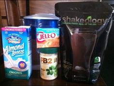Chocolate Shakeology Butterfinger Blizzard Recipe: 1 scoop of chocolate Shakeology,  1/2 cup vanilla almond milk,  1/2 cup of water,   1 tbsp of natural peanut butter,   1 tbsp Butterscotch jello powder.  Lots of ice. Blend until smooth.   Recipe provided by Sommer Tucker.