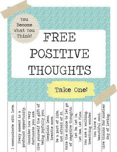 free positive thoughts - I want to make one with Bible verses for my classroom!