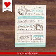 Bridal Shower Invitation  Mason Jar Jars  by LoveStruckStudio