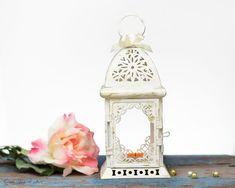 Unique Wedding Lantern, Scheherazade Exotic Lantern, Moroccan Home Decor, Filigree White Metal, Candle Holder, Lantern Centerpiece by OVS