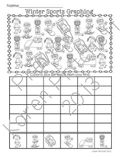 FREE! Winter Sports Math graphing practice - just in time for the Olympics. Great for Kindergarten! Please consider leaving feedback!
