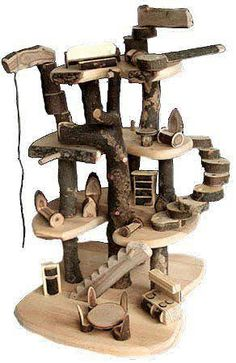 Made of cherry branches and branch blocks to assemble in endless ways . Fairy Tree Houses, Cat Tree House, Cat Furniture, Furniture Making, Cherry Furniture, Repurposed Furniture, Ideal Toys, Cat Condo, Waldorf Toys