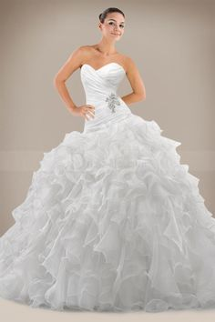 Gorgeous Ball Gown Wedding Dress with Cascading Ruffles