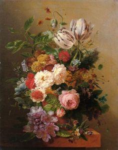 'An Exuberant Flower Still Life' - Arnoldus Bloemers.