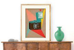 We Click - Vintage Camera A3 Print, Mid Century Modern, Geometric illustration of a retro camera on Etsy, $23.82