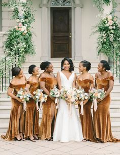 This backyard wedding was full of golds and blues perfect for a fall or winter wedding. With velvet bridesmaids dresses, a urban wedding venue, and the most beautiful fondant wedding cake. Click to see more inspiration from this couple's outdoor West Virginia Wedding. #Wedding #WeddingDetails #FallWedding #WeddingInspiration #GoldWedding #BlueWedding #Gold #Blue #WeddingColors #FallWeddingColors | Martha Stewart Weddings