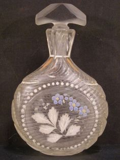 RARE Antique Moser Enamel Bohemian Glass Perfume Bottle HAND BLOWN ...