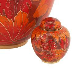 Fall Leaf Cloisonne Keepsake Urn   Keepsake Urns for Ashes   Available at Stardust Memorials