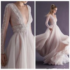 Champagne Chiffon Beading Wedding Dresses Paolo Sebastian 2015 New Plunging V Neck Backless Handmade Long Sleeves See Through Bridal Gowns