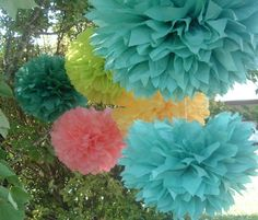 Set of 10 pompoms. Prom decor, birthday party, baby shower, bridal shower decorations - Home Page Prom Decor, Bridal Shower Decorations, Paper Decorations, Wedding Decorations, Wedding Ideas, Hanging Pom Poms, Paper Pom Poms, Tissue Paper, Wedding Pom Poms