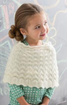 Knit Girl's Poncho Free Pattern from Red Heart Yarns