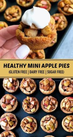Healthy Mini Apple Pies (Gluten Free, Dairy Free, Sugar Free) | These healthy mini apple pies are made from wholesome natural ingredients like apples, almond flour, and coconut sugar. They are gluten free and dairy free #minipies #glutenfree #dairyfree | recipesrecipes.club Paleo Dessert, Healthy Dessert Recipes, Vegan Desserts, Gourmet Recipes, Heart Healthy Desserts, Gluten Free Dairy Free Desserts, Easy Desserts, Diet Recipes, Sugar Free Snacks