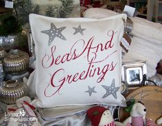 Seas And Greetings #coastal #Christmas pillow by #LivingSimplistically