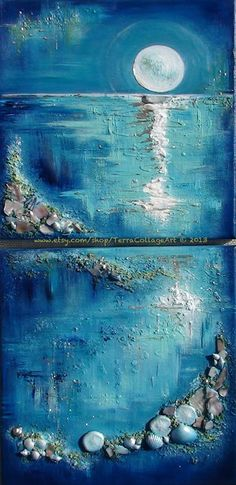 Moonglow 12x24 inches Diptych. Original Mixed by TerraArtGallery
