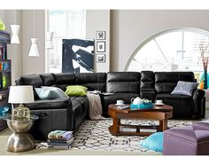 Voyager Leather Collection - Value City Furniture-4 Pc. Power Reclining Sectional with Music Console $2,999.96