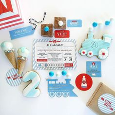 Choo Choo! Who's commuting on the train this morning?  more sweet treats that we received from @thepartybebe in Melbourne from Alex's #vintage #train birthday party along with the bespoke paperie we created especially for the birthday boy  please tap for all the talented vendors details! #thankyou #PAPERplayground #bespoke #design #paperie #soiree #flatlay #birthday #boy #party #yum #cookies #icecream #cakepops #Melbourne x by paperplayground