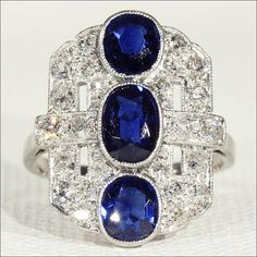 Vintage Art Deco Sapphire and Diamond Ring Trilogy in Platinum and White Gold.