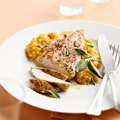 Your whole family will love our Cinnamon-Roasted Chicken with Pumpkin-Sage Grits! Find more savory pumpkin recipes here: http://www.bhg.com/thanksgiving/recipes/savory-pumpkin-recipes/?socsrc=bhgpin102514savorypumpkinrecipes&page=10