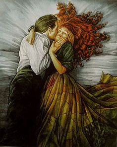"""""""The Kiss"""" by PJ Lynch illustration from the book: """"East o' The Sun, West o' The Moon"""". *this is a Norwegian version of the Beauty and the Beast. The Kiss, Art Magique, Decoration Photo, Art Du Monde, East Of The Sun, Photo Star, Fairytale Art, Couple Art, Fine Art"""