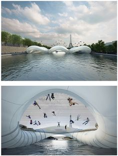 trampoline bridge: river seine, france. is this the coolest thing ever or is this the coolest thing ever?!