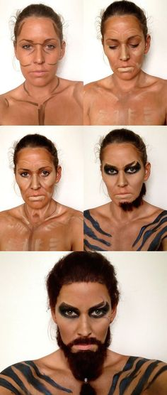 Amazing Game of Thrones makeup transformation. A talented make-up artist from Drouin, Australia, Katherine Murphy transformed herself into a very impressively Khal Drogo from Game Of Thrones character. Halloween Karneval, Halloween Kostüm, Halloween Cosplay, Halloween Makeup, Halloween Costumes, Sfx Makeup, Cosplay Makeup, Costume Makeup, Hair Makeup