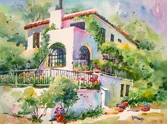 Carole Hillsbery - Love this house in Puerto Vallarta. Watercolor Landscape Paintings, Watercolor Artists, Watercolor Portraits, Art Case, African American Art, Puerto Vallarta, Home Art, Painted Rocks, Flower Art