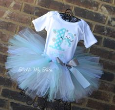 Winter ONEderland Aqua Polka Dot Snowman Winter Themed Birthday Tutu Outfit, Snowman Themed Birthday Outfit on Etsy, $59.95