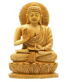 Hand Carved Wood Sitting Buddha Statue $28.00. ***Serene and calming, made of lightweight natural wood, this Buddha statue is hand carved in India. Measuring 4 inches wide and 6 inches high, this Buddha statue has artistic carved details on all sides. Minor variations & organic defects in hand carvings enhance individual artistic character.