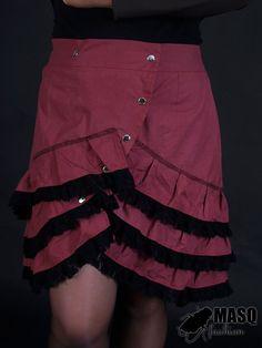 MASQ Burgundy cabaret skirt with ruffles XL 2XL XXL by masque242, €50.00