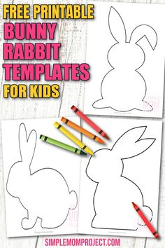 Bunny Rabbit crafts are always popular in our house, so these free printable bunny rabbit templates always bring a smile to my kids faces. Whether using these bunny rabbit templates as stencils for farm themed crafts or as part of a preschool art project, these easy diy templates are fun for kids of all ages. Grab your free printable bunny rabbit templates and bring some spring craft fun to your home today! Bunny Coloring Pages, Toddler Coloring Book, Coloring Pages For Kids, Coloring Sheets, Farm Animal Crafts, Animal Crafts For Kids, Spring Crafts For Kids, Preschool Art Projects, Preschool Activities