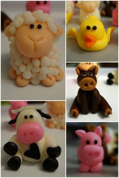 barn/farm animals fondant toppers