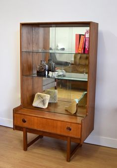 teak bookcase display cabinet 60s 70s retro glass mid century