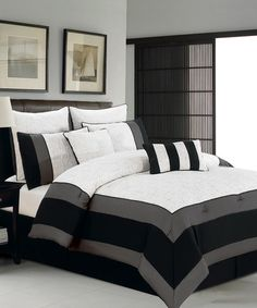 White & Black Aspen Hotel King Comforter Set by Duck River Textile on #zulily