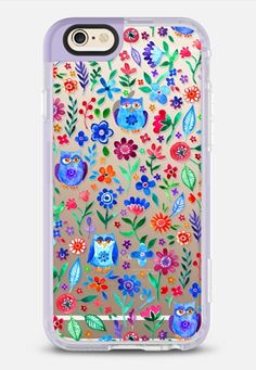 Tiny Owls and Flowers - iPhone 6 case in Lavender Violet by @micklyn | @casetify