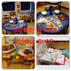This is our bakery role-play area in our EYFS reception class. Real dough, scales, rolling pins, cake cases, bread, paper bags, kitchen set, till, phone etc. The children have loved it. Tomorrow we are going to make crispy cakes and sandwiches.