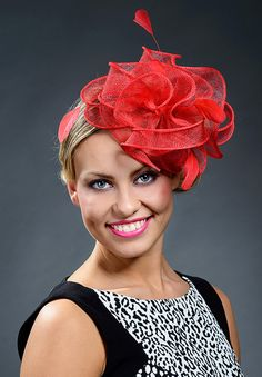 Red stunning fascinator hat for weddings Ascot by MargeIilane