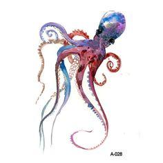 Octopus - Then & When - Tattoo Art, Temporary Tattoo, Arm Tattoo, Back Tattoo, Temporary Tat Octopus Painting, Octopus Art, Octopus Drawing, Octopus Design, Seahorse Art, Painting Art, Watercolor Animals, Watercolor Art, Watercolor Jellyfish