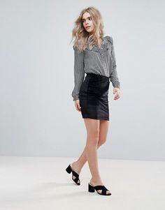 JDY Sherry Soft Pencil Mini Skirt - Black
