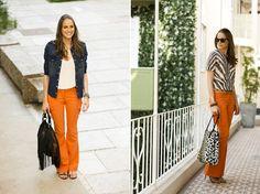 Todos os looks do Desafio da Peça Chave: Calça flare laranja com bolsos utilitários | Território Animale