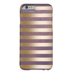 Modern Gold Stripes Brushed Violet iPhone 6 case. Designed by Case Plus. $43.95