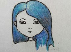 Daughter of smoke and bone  -karou&akiva- - blue hair-