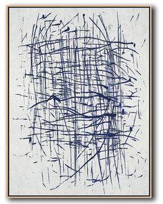 Navy Blue Minimalist Art #NV305B #acrylic-painting #Artists_Celine-Ziang #Celine-Ziang