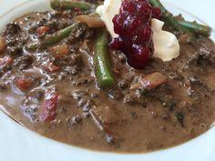 Nydelig, kremet hvalgryte - Sunt, norskt og veldig godt! Beef, Food, Red Peppers, Meat, Essen, Meals, Yemek, Eten, Steak