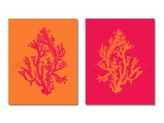 Could do with pink and navy,  Coral Wall Art Pink Tangerine Sea Coral Set of Two 8x10, Coral Wall Art, Tangerine Coral Print, Sealife print , Pink Coral Prints