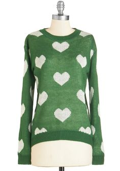 Falling Inn Love Sweater. Tis the season to get cozy - let this pretty pullover inspire warm and fuzzy feelings. #green #modcloth