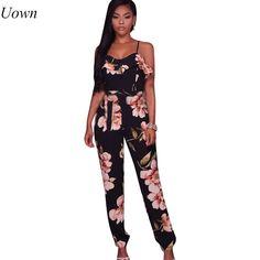 f8fa38b5090 Floral Printed Black Jumpsuits Women Bohemian Spaghetti Strap Beach Rompers  2017 V-Neck Slim Ruffles Overalls Vintage Body Pants