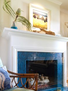 Best 10 of Glass Mosaic Fireplace Surround : Turquoise Tile In Glass Mosaic Fireplace Surround For Beach Style Living Room With Rocking Chai...
